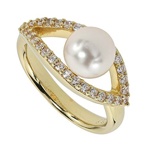 Pfeffinger Damen Ring Sterling-Silber 925 goldplattiert Muschelkern-Perle CZ Zirkonia RW16