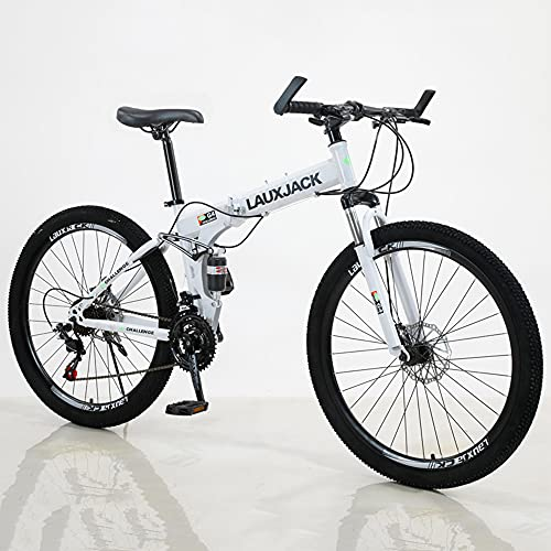 RUIXFEC 26' Unisex Wheel, W 27 Speeds | All-Terrain Bicycle With Front Suspension Dual Disc Brake, Road Bicycle, City Bike, Collapsible Adult Mountain Bike, High-Carbon Steel Frame, Adjustable Seat