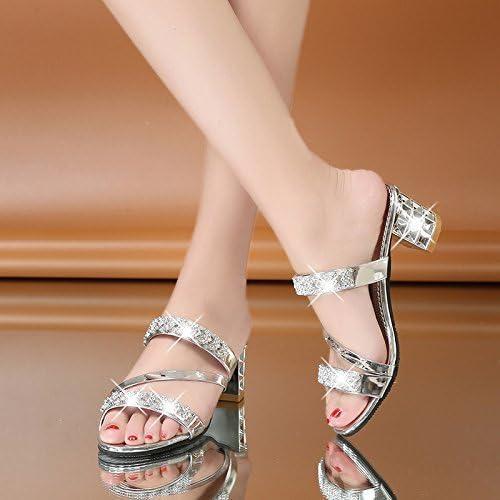 FUWUX Frauen Flip-Flops High Heel Dick mit Casual Breathable Silber 7,5 US   38 EU   5 UK