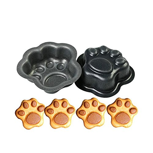 2 stampi in metallo a forma di zampa di gatto e cane, stampo da forno per pasticceria, teglia da forno, stampo per biscotti, fondente, cioccolato, torta di latta per decorazione fai da te