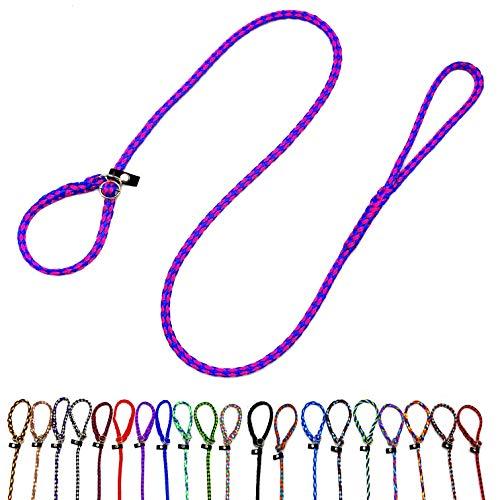 Retriever Hundeleine / Agility Leine / Moxonleine mit Zugstopp 1,30m / 1,50m / 1,70m / 2m für kleine Hunde / mittlere und große Hunde bis 50 KG (1,50m kleine Hunde (8mm), Malibu (Blau-Flieder))