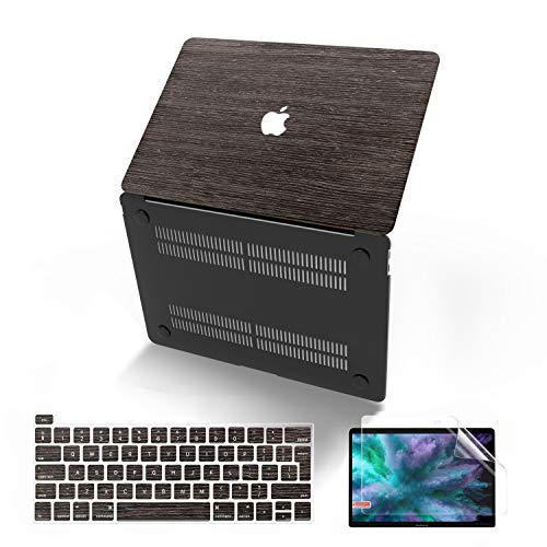 MacBook Pro 13 Inch Case 2019 2018 2017 2016 Release A2159/A1989/A1706/A1708, Anban Ultra-Slim Wooden Hard Corner Protective Shell Cover Compatible for Mac Pro 13 with/Without Touch Bar, Deep Walnut