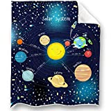 LOONG DESIGN Solar System Throw Blanket Super Soft, Fluffy, Premium Sherpa Fleece Blanket 50'' x 60'' Fit for Sofa Chair Bed Office Travelling Camping Gift