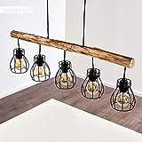 Pendelleuchte Gondo, Hängelampe aus Metall/Holz in Schwarz/Braun, 5-flammig, 5 x E27 max. 40 Watt, moderne Hängeleuchte geeignet für LED Leuchtmittel - 8