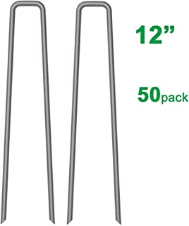 MySit 50 Pack 12 inch Garden Stakes Tent Stakes Galvanized Landscape Staples, 11 Gauge Steel Ground Tent Pegs Pins Garden Staples Lawn Staples for Securing Landscape Weed Fabric and Fences