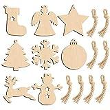 HAKACC 80 Stück Weihnachts Holzanhänger, Holzscheiben Holz Weihnachtsschmuck Christbaumschmuck, Handwerkliche Verzierungen für Weihnachten Weihnachtsbaum DIY Dekoration