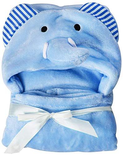 con Capucha Bebé Toalla, Baño Envuelva Manta Suave Coral Forro Polar Animal Poncho para Recién Nacido Chicas Chicos Albornoz con Orejas, Hipoalergénico, 0-24 Meses - Azul, 95 * 75cm