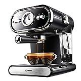 Bidema Retro Moda e caffè Macchina for caffè Espresso semiautomatica Domestica Coppe visualizzazione Schiuma di Latte Doppio Controllo della Temperatura (Colore : Nero, Plug Type : US)