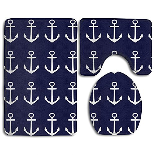 WEEDKEYCAT Nautical Navy Blue Anchor Of Sailor Non Slip Large Home Bathroom Rugs Doormats,Soft Toilet Rug U-Shaped Mat,Premium Round Toilet Lid Cover 3 Pieces Set
