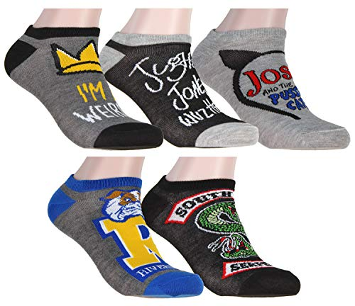 Riverdale High Southside Serpents Jughead Adult Womens Mens 5 Pair Ankle No Show Socks