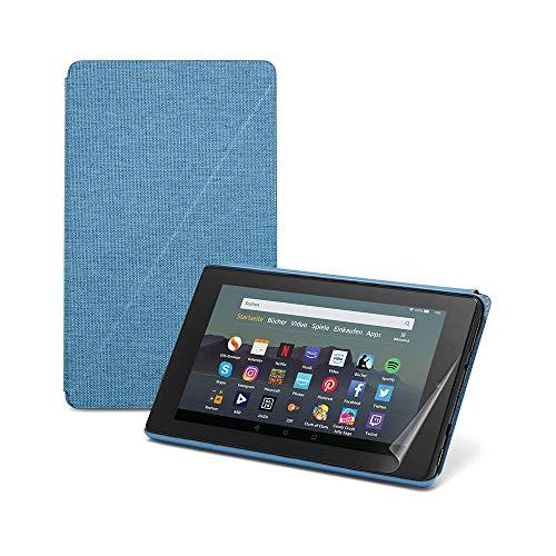 Fire 7 Essentials Bundle mit Fire 7-Tablet mit Alexa, 7-Zoll-Display, 16 GB, Schwarz – mit Spezialangeboten, Amazon-Hülle (Dunkelblau) und Displayschutzfolie von NuPro (2er-Pack)