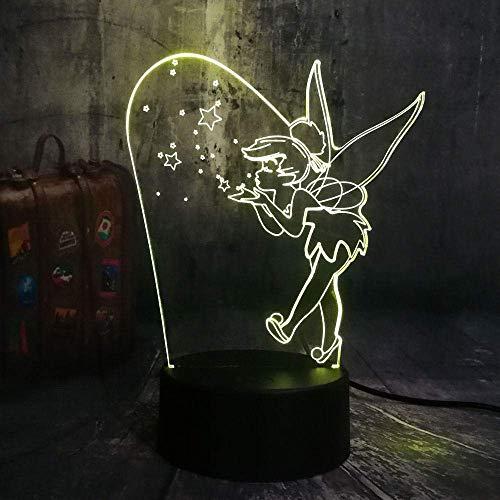 Lámpara De Ilusión 3D Luz De Noche Led Sensor Táctil Usb Guirnalda Decorativa Lámpara De Mesa De Dormitorio Princesa Tinkerbell Mejor Cumpleaños Para Niños