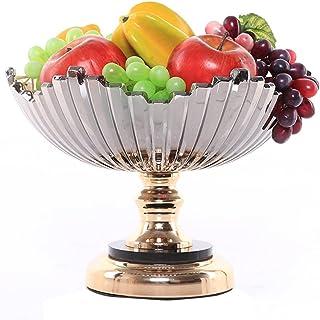 زجاج صينية الفاكهة الإبداعية سطح الديكور المعادن صينية الفاكهة علبة الحلوى الديكور المنزل (Color : Light grey, Size : 14 *...