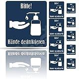 Berossi Cartel por favor desinfectar las manos   Señal de advertencia para desinfección de la mano   Autoadhesivo lámina fuerte soporte   10 unidades pegatinas fáciles de pegar