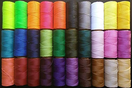 30 bobinas de hilo encerado de 1mm de grosor Linhasita 30 colores diferentes