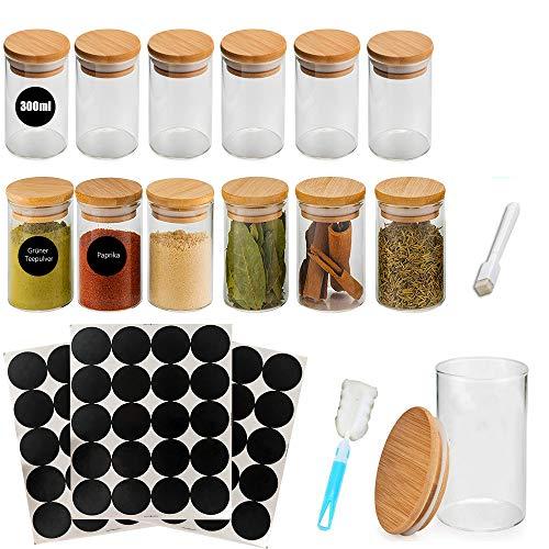 MEckily Vorratsdosen Glas 12er Set, Gewürzgläser Luftdicht Vorratsgläser Glasdose Glasbehälter aus Borosilikatglas mit Deckel, Kapazität 300ML