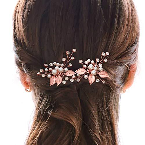 Vakkery - Horquillas para el pelo de boda, color plateado y