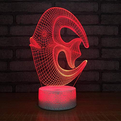HOHHJFGG 3D LED Night Light Fish, Home Decoration 3D Table lamp with 7 Colors, Amazing Illusion Atmosphere Light