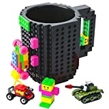BOMENNE Build-on Brick Mug,Novelty Creative DIY Block Buddy Cup With 3 Packs Of Blocks Randomly,Unique Kids Party Fun Mug Compatible with Lego For ALL Festival and Christmas gifts ideas,Black