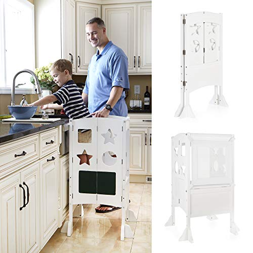 Guidecraft Classic Kitchen Helper Stool - White W/Keepers and Non-Slip Mat: Foldable, Adjustable Height Safety Cooking Stool for Toddlers with Chalkboard and Whiteboard Message Boards