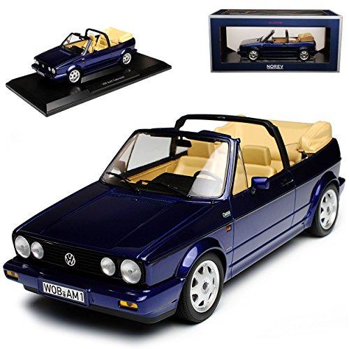 Norev Volkwagen Golf I Cabrio Blau Metallic 1979-1993 1/18 Modell Auto mit individiuellem Wunschkennzeichen