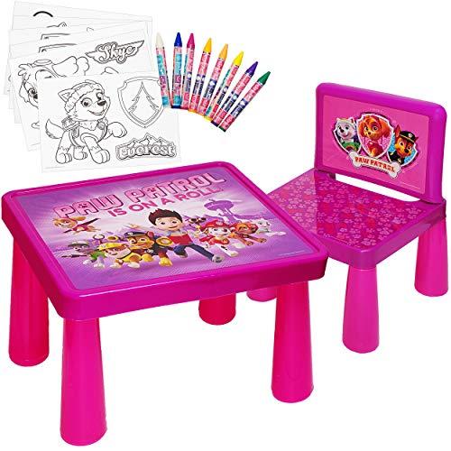 alles-meine.de GmbH Set: Tisch & Stuhl - incl. Malvorlagen + Stifte -  Paw Patrol - Hunde  - Maltisch / Zeichentisch / Schreibtisch / Spieltisch - für Kinder aus Kunststoff / P..