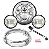 Motorcycle 7' LED Headlight for Harley Davidson Road King, Road Glide, Street Glide and Electra Glide,Ultra Limited with 4-1/2 LED Passing Lamps Fog Lights and Bracket Mounting Ring