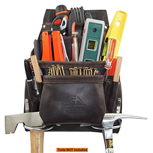 Graintex PS1234 10 Pocket Tool Pouch Oil Tanned Leather for Constructors, Electricians, Plumbers, Framers