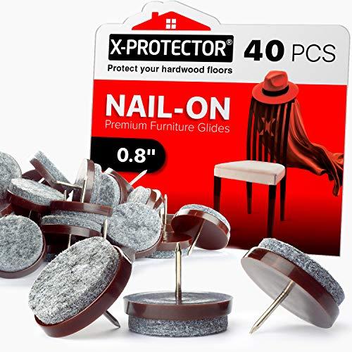 Nail on Felt Pads X-PROTECTOR - 40 Felt Furniture Pads – Felt Chair Pads for Hardwood Floors - Floor Protectors for Furniture Legs - Best Furniture Sliders for Hardwood Floors! (20mm)