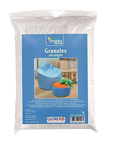GLOREX 0 2545 05 - Granulex ultralight, 5 L, sehr leichter, geschäumter Füllstoff aus Mini Styroporkügelchen, zum Füllen von Kissen, Plüschtieren und Sitzsäcken, waschbar