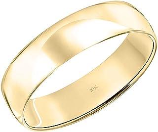 بند عروسی ساده مردانه یا زنانه 10K یا 14K طلای زرد یا سفید 5MM کلاسیک ساده با عبارات درخشان