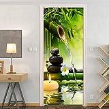 Etiqueta De La Puerta,3D Adhesivos Para Puertas Interiores Bambú Zen Las Piedras Negras Autoadhesiva Murales Para Puertas Puertas Renovación De Arte De Pared Pegatinas Para Salón Dormitorio-S
