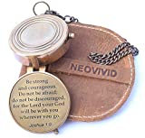NEOVIVID Be Strong and Courageous, Do Not Be Afraid Engraved Compass, Joshua 1 9 Engraved Gifts, Confirmation Gift Ideas, Baptism Gifts, Missionary Gifts, Birthday Gifts