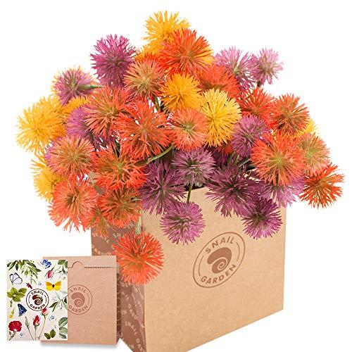 SnailGarden Flor de Diente de León Artificial de 63 Cabezas, 3 Racimos, 18 Bolas de Flores de Cebolla, Ramo de Hortensias con Tarjeta de Felicitación y Bolsa de Papel Marrón para Regalo de Arreglo