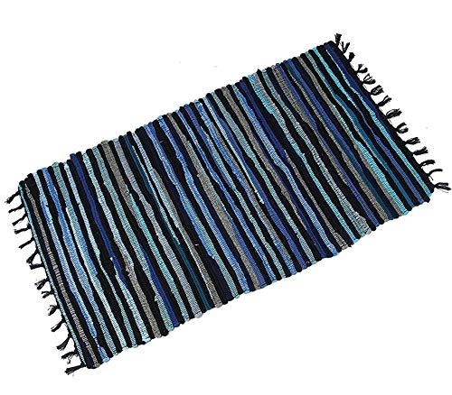Famibay Teppiche Bereich Teppich rutschfest Chindi Recycelt Baumwolle Teppich Mehrfarbig Flickenteppich für Wohnzimmer 60x120cm/24x47in (ca.)