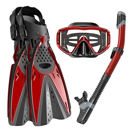 3pcs / Set de Snorkel máscara Gafas de natación + Submarino Tubo de respiración + Buceo Aletas Equipo de Buceo Accesorios de Kayak (Color : Red, Size : L-XL)