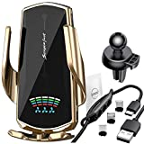 Wireless Car Charger Mount 2 in 1 Cell Phone Automobile Cradles 10W Fast Charging Air Vent Smart Sensor Touch Vehicle Wireless Charging Phone Holder for iPhone Samsung Android (Gold)