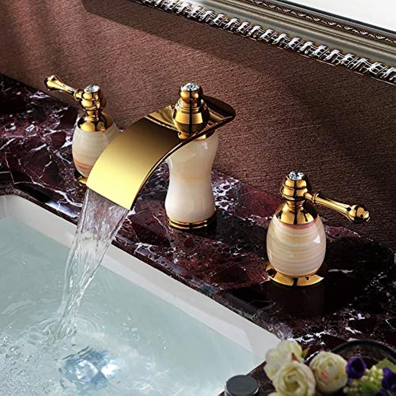Becken Wasserhahn Becken Wasserhahn, Natürliche Jade Golden Messing Armaturen, Retro Mode Desktop Wasserfall Home Küche Bad Wasserhahn, Heies und kaltes Wasser 3-Loch-InsGrößetion, sicherer