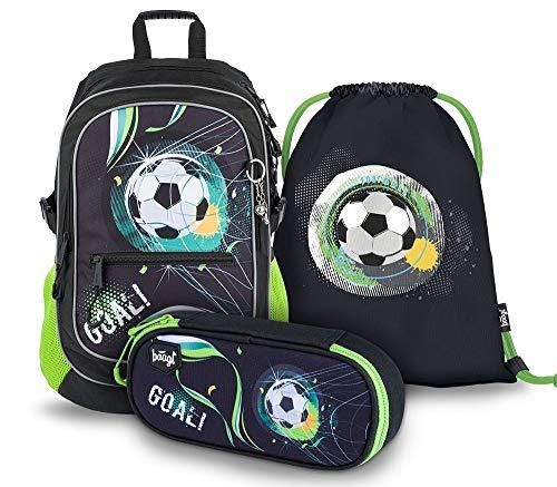 Schulrucksack Set 3 Jungen Teilig, Schultasche ab 3. Klasse, Grundschule Ranzen mit Brustgurt, Ergonomischer Schulranzen (Fußball)