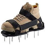 Augenblick Lawn Aerator Shoes, Manual Lawn Scarifier Grass Aerator Lawn Spike Shoes Garden Lawn Aerator Scarifier Shoes Fits for Your Lawn Yard - Black
