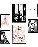 Heimlich Cuadros Decorativos - Decoración Colgante para Paredes de Sala, Dormitorios y Cocina - Arte Mural - 2 x A3 (30x42cm) et 4 x A4 (21x30cm) (Paris Fashion Flowers, Sin Marcos)