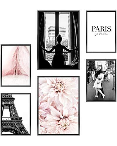 Heimlich® Premium Poster Set OHNE Bilderrahmen | Stilvolles Set mit passenden Bilder als Wohnzimmer Deko | 2 x DIN A3 & 4 x DIN A4 - ca. 30x42 & 21x30 | » Paris Fashion Blumen «