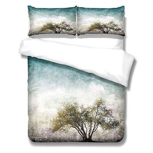 iCoCofly 3 Pieces Bedding Set with 1 Duvet Cover and 2 Pillowcase Set, Watercolor Motif, Trendy Quilt for Kids Teens and Adults Soft Microfiber Hypoallergenic Bedding Set - 3D Trees,Double 200x200cm
