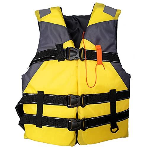 Chaleco Salvavidas Adulto, Chaleco de Natación, Chaleco Flotador, Chaleco de Flotación Inflable Portátil, Chaleco Reflectante con Silbato de Emergencia para Nadar,Pesca,Kayak,Navegación (Amarillo)