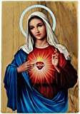 """OLIVE WOOD ICON FROM ISRAEL: This 4"""" x 2.75"""" Virgin Mary Immaculate Heart icon is hand crafted out of solid, genuine olive wood in the Holy Land of Bethlehem PORTRAIT OF THE VIRGIN MARY: The traditional Catholic image of the Immaculate Heart of Virgi..."""