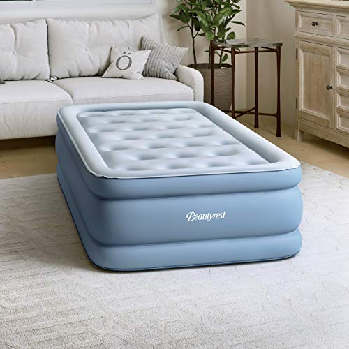 "Simmons SB9517PLEXPTW Beautyrest Posture-Lux Express Air Bed, Cushioned Support, Adjustable Comfort Control, Hands-Free Pump, 15"" Twin, Blue"