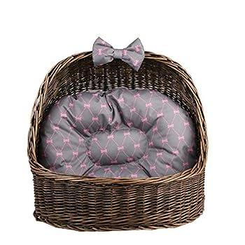 e-wicker24 Corbeille,Niche, Panier Ovale en Osier Brun-Gris avec Joli Coussin Gris imprimé Petits os Roses et Une os décoratif