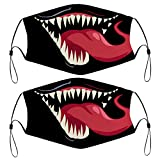 Cartoon Half Face Kids 2PCS Face Mask Cute 6.89x5.12in Scarf 4 Filters Reusable Bandana Ear Loops & Nose Wire