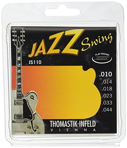 Thomastik Cuerdas para Guitarra Eléctrica Jazz Swing Series niquel Flat Wound juego JS110 Extra Light .010-.044w