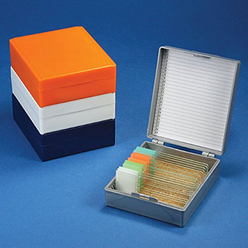Globe Scientific 513075N ABS Plastic Cork Lined Slide Storage Box for 25 Slides, Orange